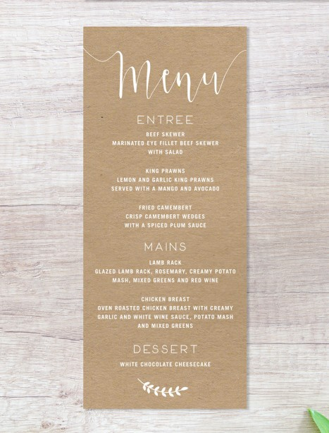 Simply sublime white ink on kraft menu