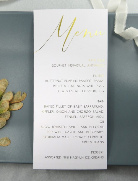 metallic rose gold and gold foil oh so chic menu