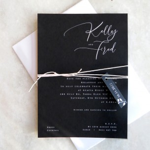 White ink Kelly wedding invitation