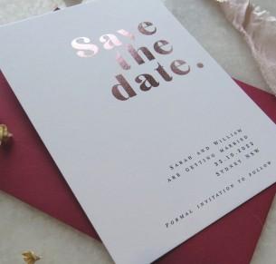 save the date! metallic rose gold pure invitation