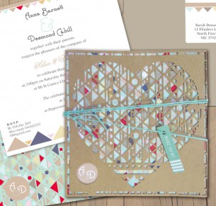 Aztec hearted recyled kraft laser cut invitation