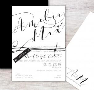 The new Romantics flat card invitation