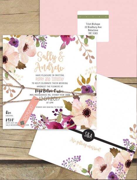 Field of flowers flat card invitation