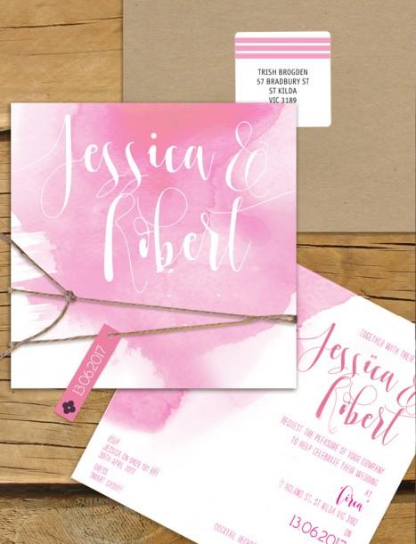 abstract splash watercolor flat card invitation