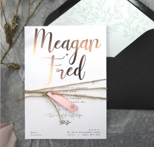 Metallic rose gold foil Meagan invitation