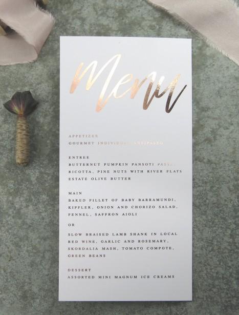 metallic rose gold and gold foil! Santa fe menu