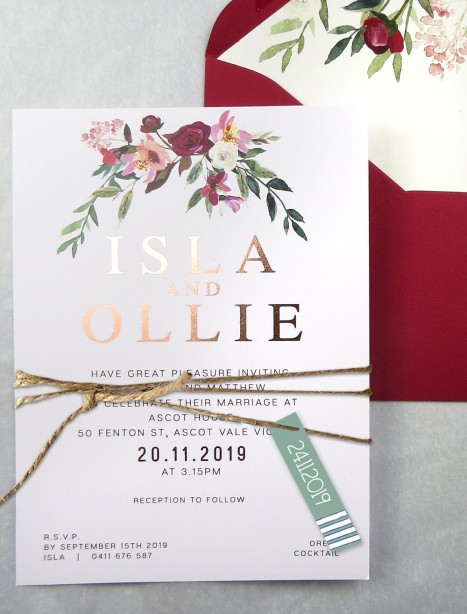 Rose gold foil! Flower market invitation