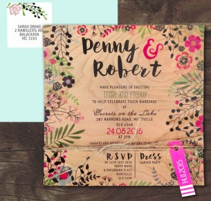 Printed on wood! Secret garden invitation
