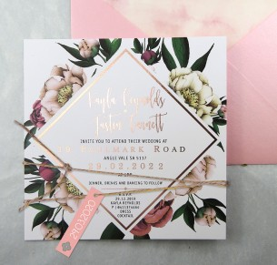 Metallic rose gold foil! vintage peonie invitation