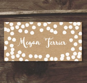 confetti joy! white ink on kraft placecard