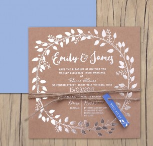 metallic foil silver! vineyard garland invitation