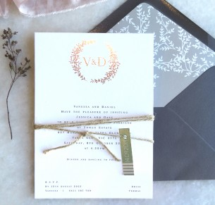metallic foil arezzo wedding invitation