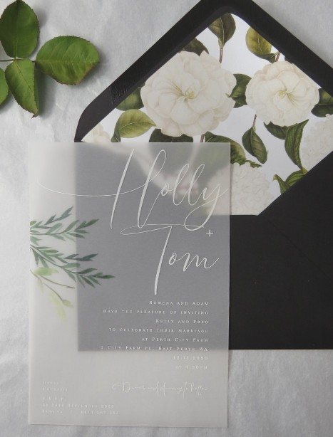 Rules of attraction vellum invitation