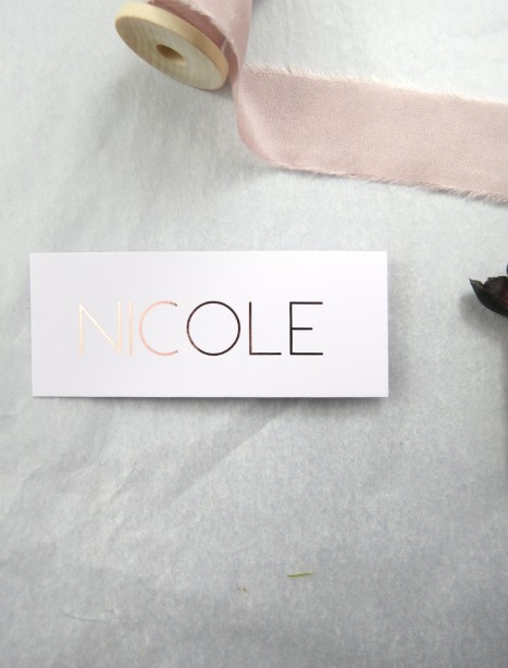metallic rose gold and gold foil helsinki placecards