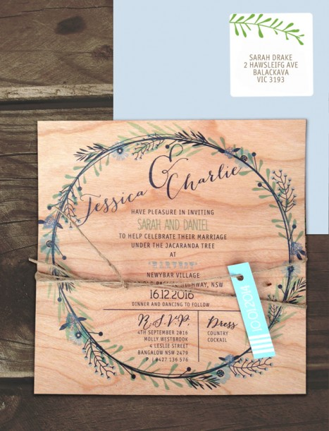printed on wood! circle of blossoms invitation