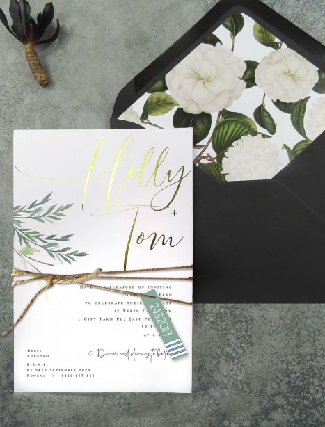 Gold and rose gold foil! Rules of attraction invitation