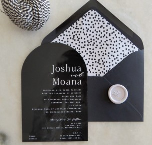 black acrylic arch cinnamon wedding invitation