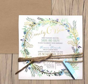 metallic gold foil! charmed invitation