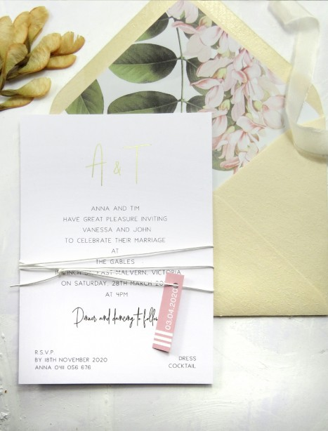 metallic gold and rose gold foil anna invitation