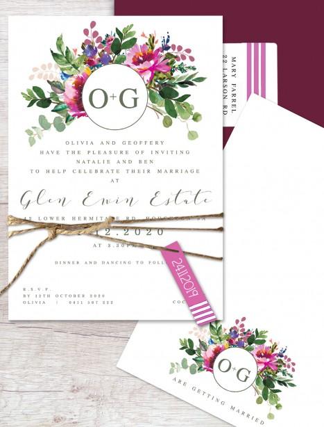 pop of colour flat card invitation