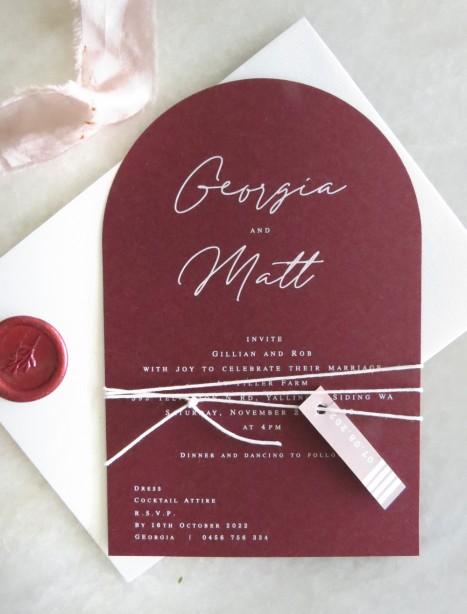 Flutter burgandy arch wedding invitation