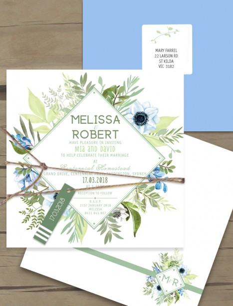 Evergreen flat card invitation