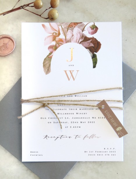 earthy floral metallic rose gold wedding invitation
