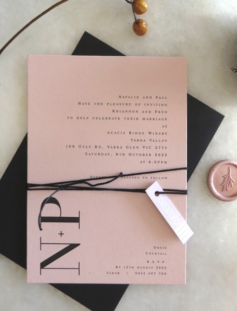 natalia on blush wedding invitation