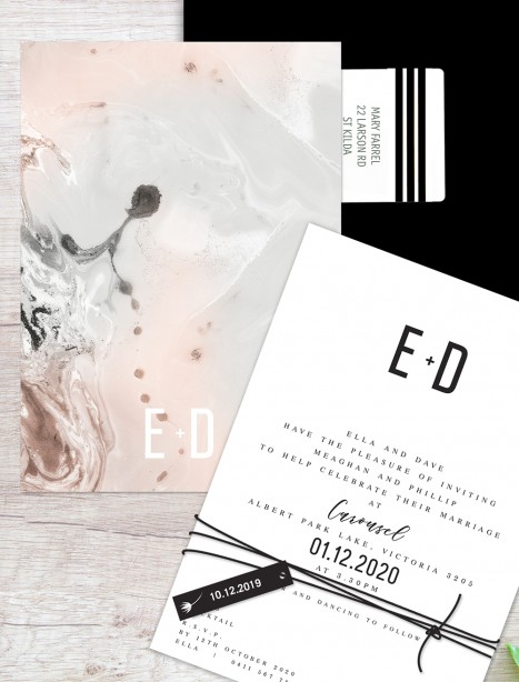 Marble on marble  flat card wedding invitation