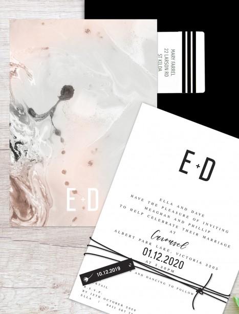 Marble on marble  flat card wedding invitation