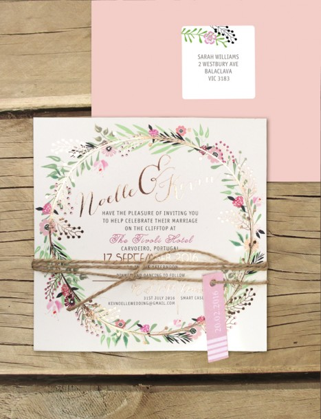 Rose gold foil! Charmed invitation