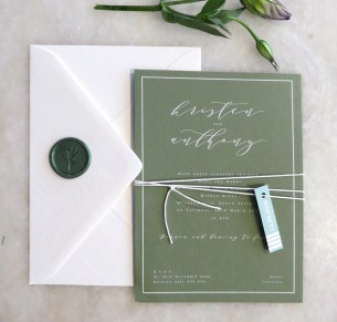 J'Adore white ink on colour wedding invitation