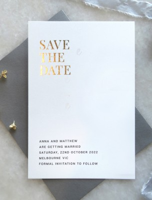 save the date! earnest rose gold and gold foil