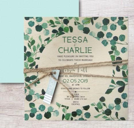 Printed on wood! Nature lover invitation
