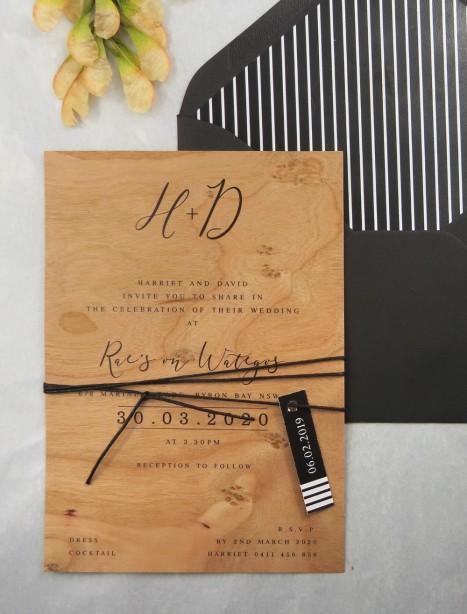 Printed on wood! Bliss invitation