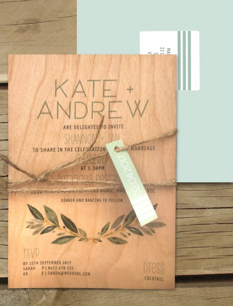 Tuscan sun on wood invitation