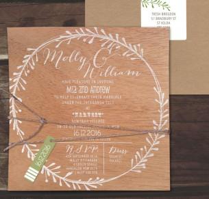 White ink on wood! rustic leaf invitation