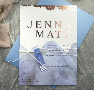 metallic foil! silver, gold and rose gold watercolour the blues invitation