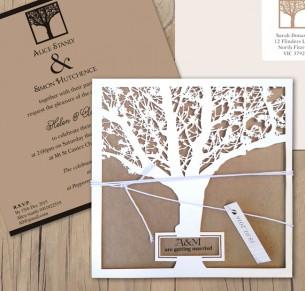 Enchanted tree laser cut invitation milk