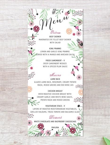 Circle of blossoms menu