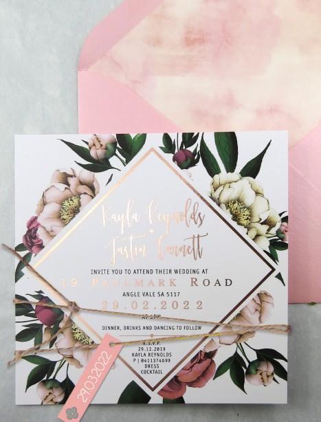 Metallic rose gold foil! vintage peonie invitation