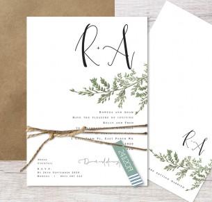 Grace in love flat card wedding invitation