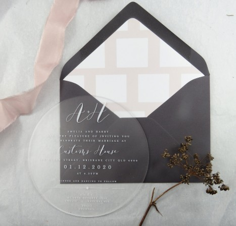 frosted ACrylic! circle of love invitation