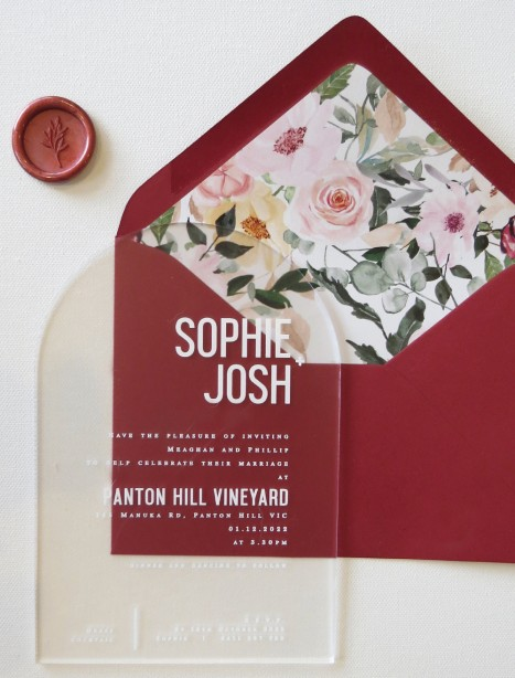 Arch frosted acrylic georgia invitation