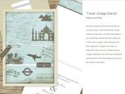 Vintage travel theme wedding invitation