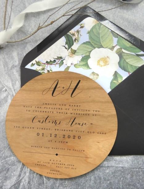 Wood! Bliss circle invitation
