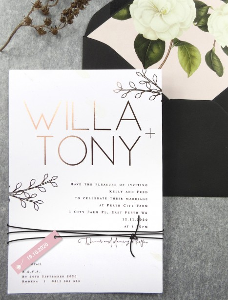 Rose gold foil! Willow invitation