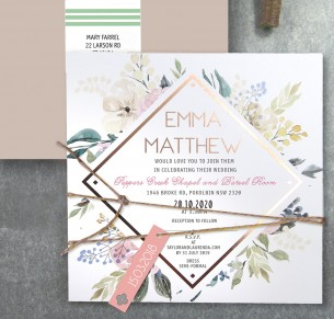 Rose gold foil! Serendipity invitation