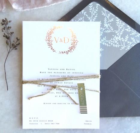 metallic foil arezzo wedding invitation