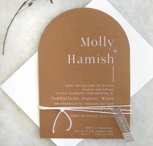 Cinnamon arch wedding invitation
